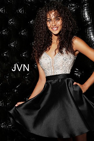 Black Beaded Bodice V Neck Homecoming Dress JVN63850