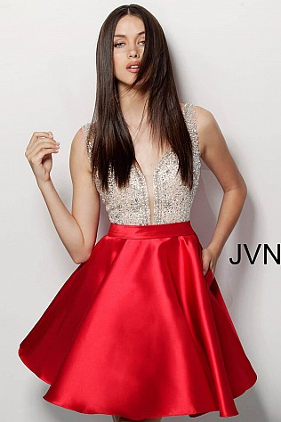 Red Embellished Bodice V Back Short Dress JVN63850