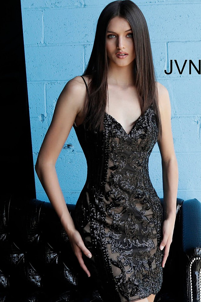 Black and Nude Beaded Short Dress JVN63900