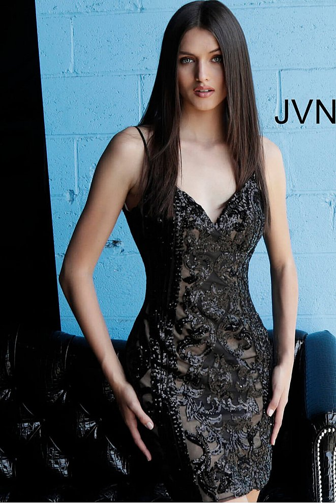 JVN63900 Black and Nude Beaded Short Dress