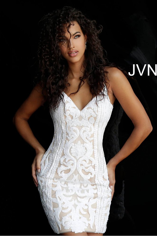 JVN63900 White Embellished Spaghetti Straps Homecoming Dress
