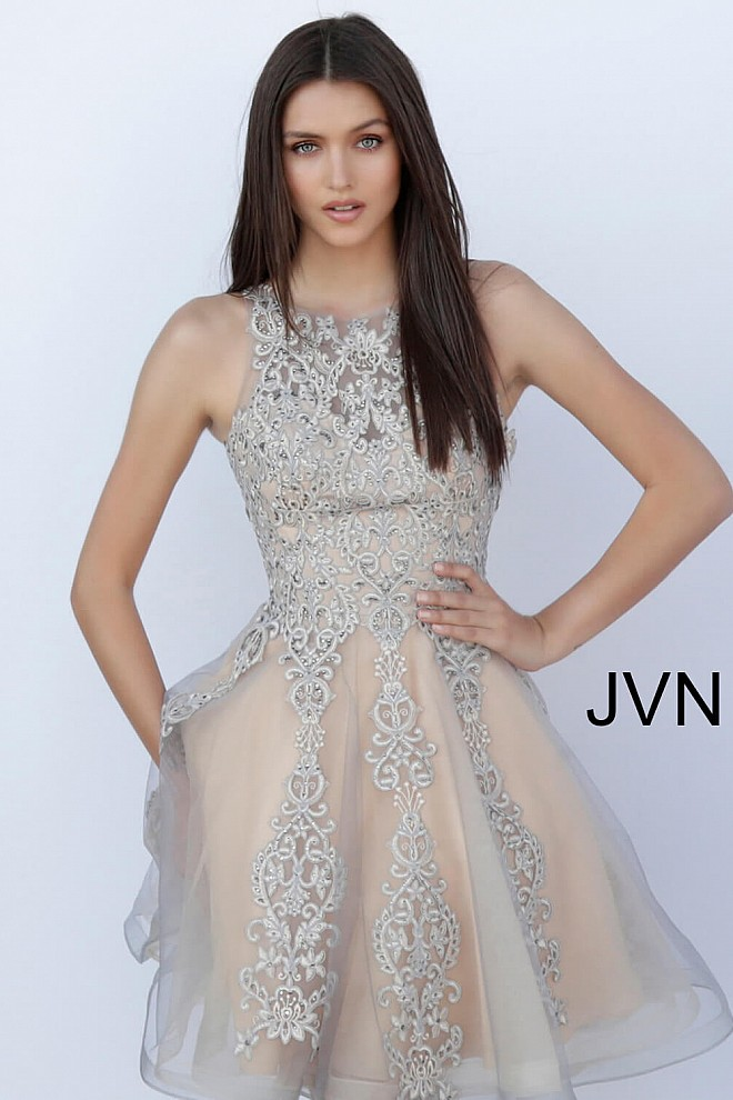 511d2da6f33 Grey nude short fit and flare close sheer back embroidered dress.