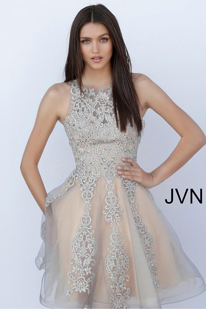 JVN63907 Grey Nude Embroidered Fit and Flare Short Dress