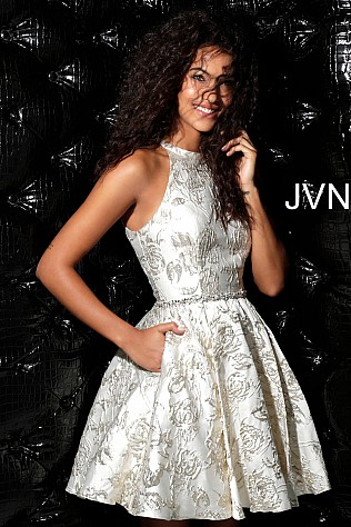 Light Gold Fit and Flare Sleeveless Homecoming Dress JVN63915