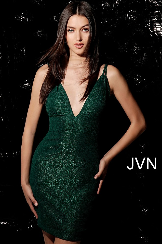 Emerald V Neck Fitted Short Dress JVN63955
