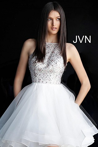 White Fit and Flare Embellished Bodice Homecoming Dress JVN64115
