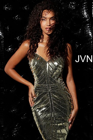 Gold Beaded V Neck Fitted Short Dress JVN64156