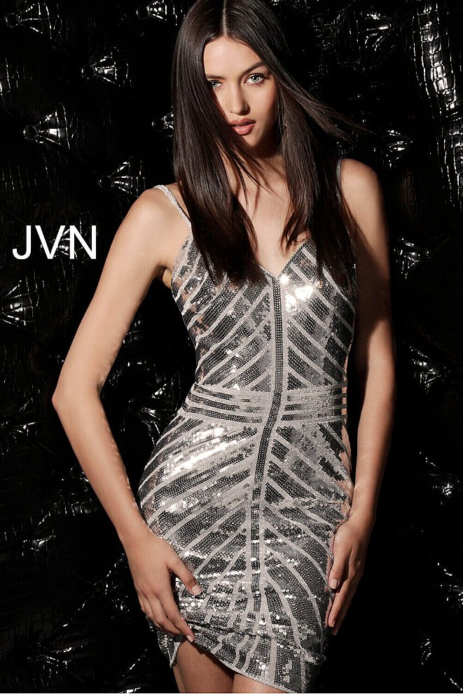 JVN64156 Silver Sequin Fitted V Neck Homecoming Dress