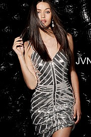 Silver Sequin Fitted V Neck Homecoming Dress JVN64156