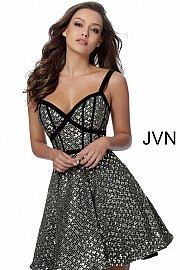 Black and Gold Open Back Fit and Flare Dress JVN64174