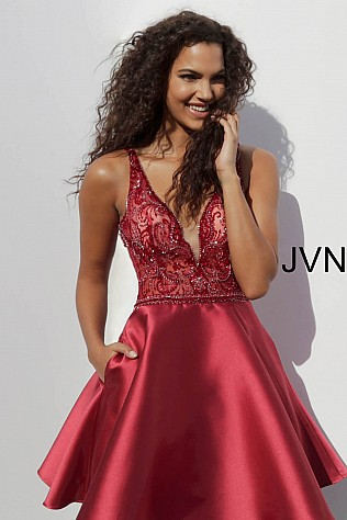 Burgundy Embellished Bodice V Neck Homecoming Dress JVN64206