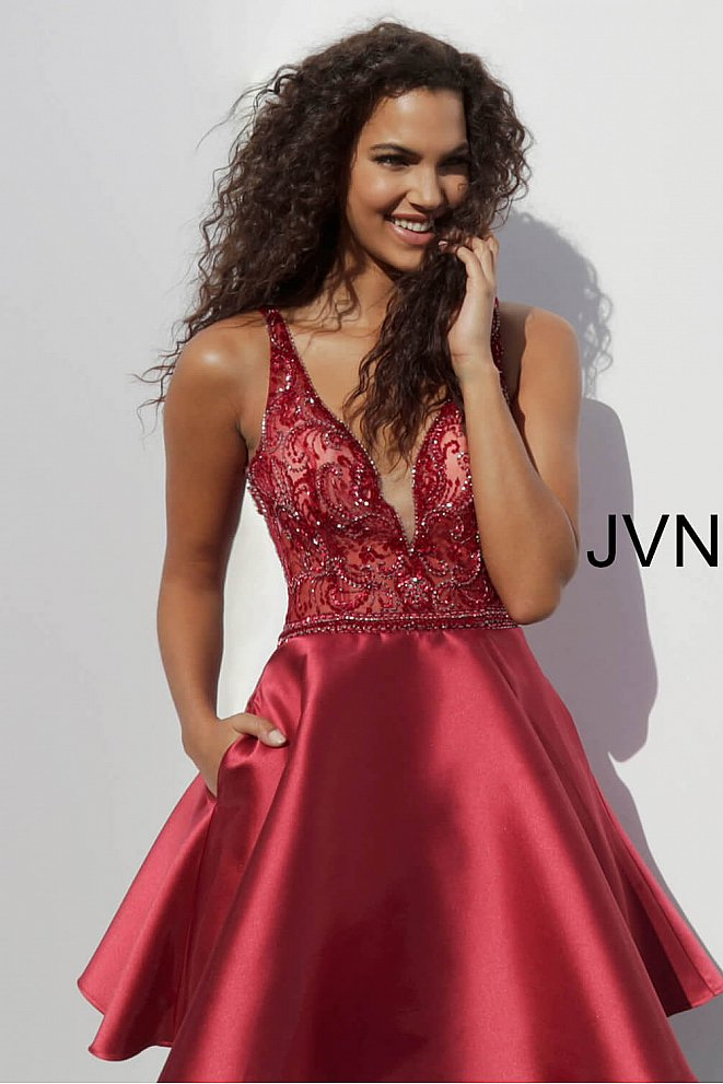 JVN64206 Burgundy Embellished Bodice V Neck Homecoming Dress