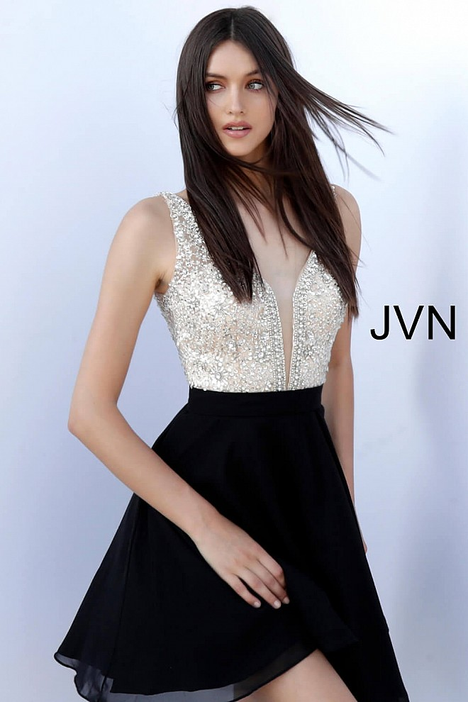 4d70ddc2731c Black silver crystal embellished plunging neckline short dress.