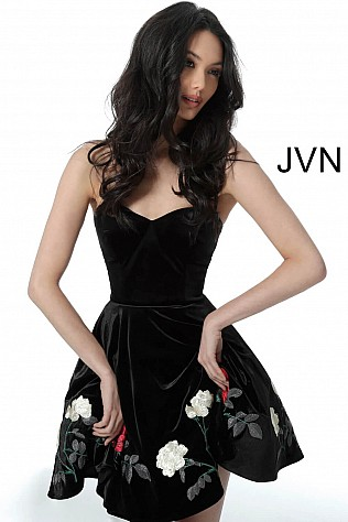 Black Multi Fit and Flare Velvet Homecoming Dress JVN64496