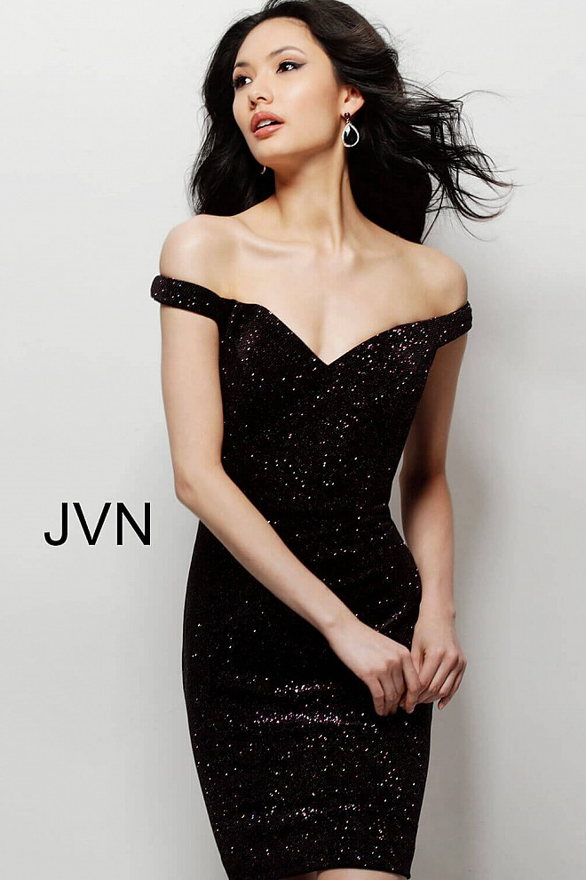f0e0267595d Black pink short fitted sweetheart neckline glitter cocktail dress.