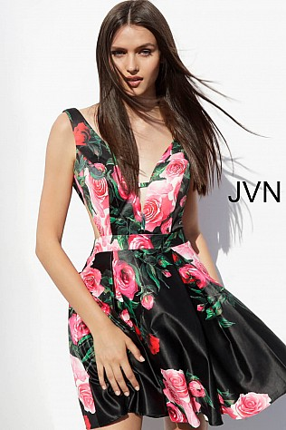 Black Floral Print V Back Short Dress JVN65166