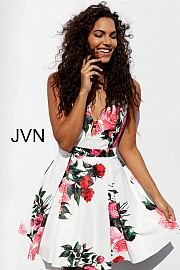 White Print Fit and Flare Homecoming Dress JVN65166