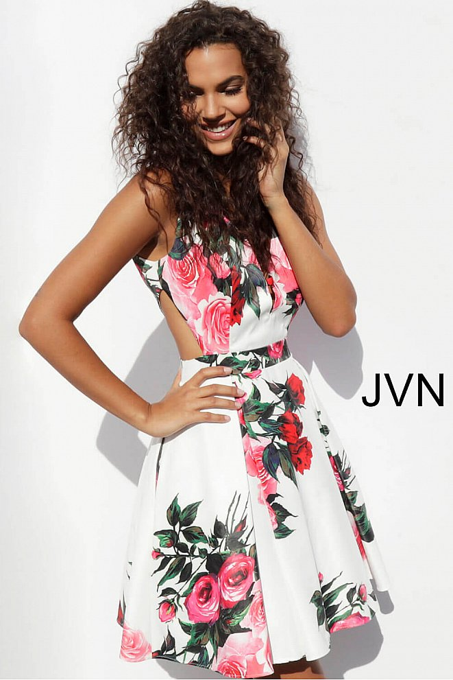 JVN65166 White Print Fit and Flare Homecoming Dress