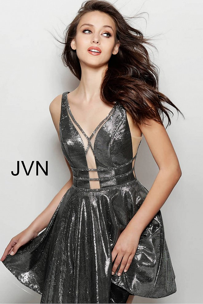JVN65631 Gunmetal Plunging Neck Metallic Homecoming Dress