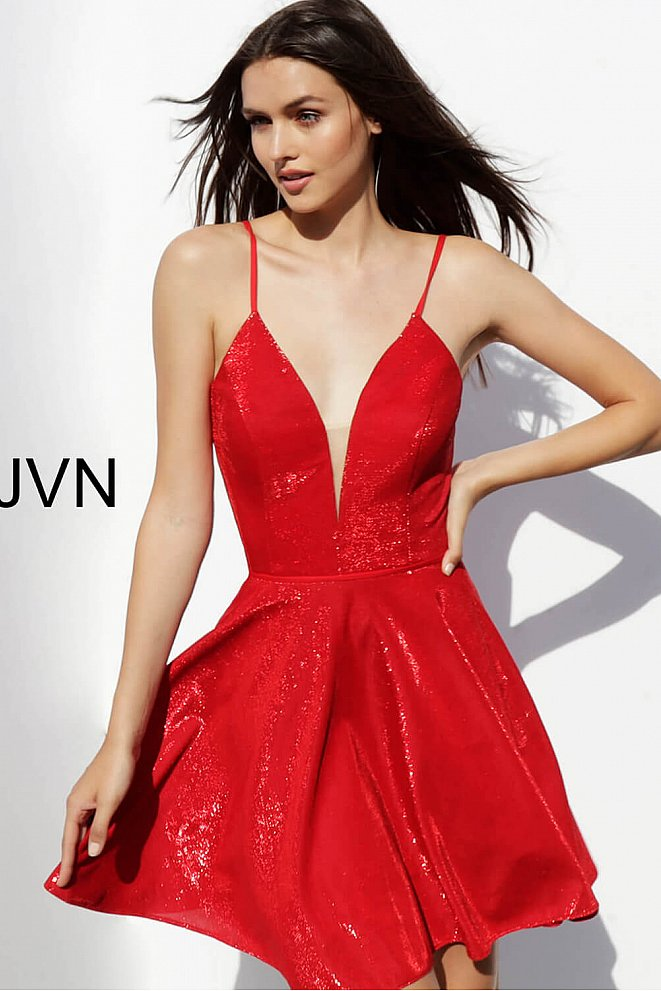 JVN65632 Red Metallic Lace up Back Homecoming Dress