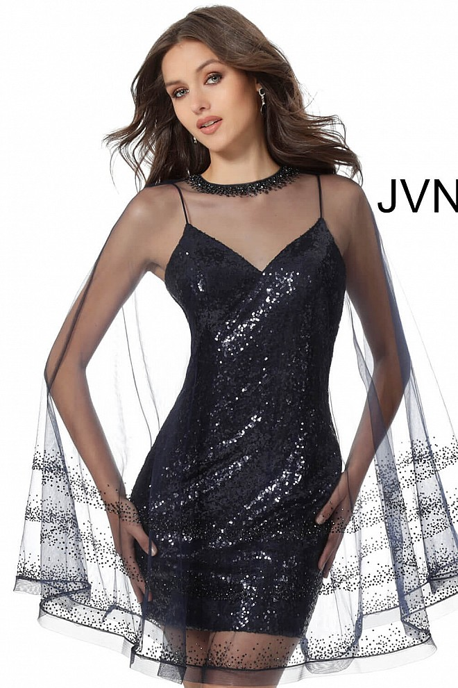 Navy Sequin Fitted Short Dress with Overlay JVN65809