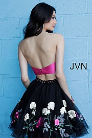 Black Fuchsia Fit and Flare Strapless Homecoming Dress JVN65812