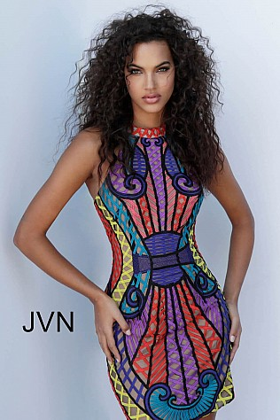 Multi High Neck Sleeveless Short Dress JVN65816