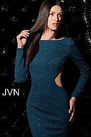 Jvn Peacock Long Sleeve Open Back Short Dress JVN66251