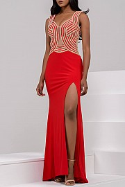 Jersey Fitted Embellished Bodice Prom Dress JVN24458