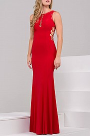 Black Fitted Jersey Prom Dress JVN45670