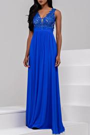 Pink Empire Waist Plunging Neckline Mesh Dress JVN47791