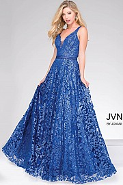 Royal Blue Embellished Lace Long Bridesmaid Dress  JVN50320