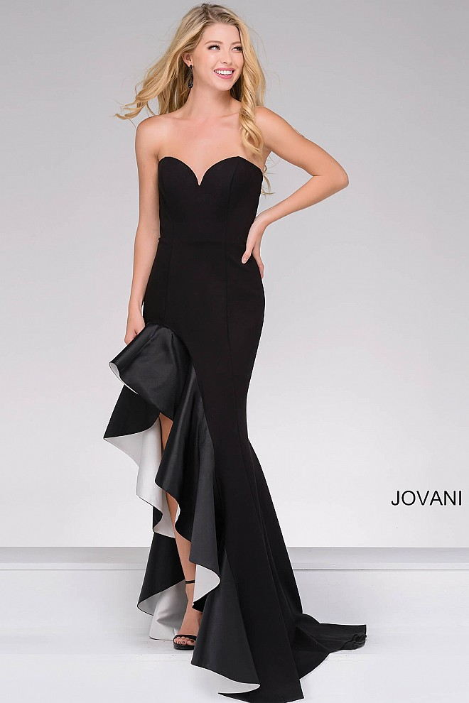 Black And White Strapless Long Dress With A Ruffle Detail On The Skirt