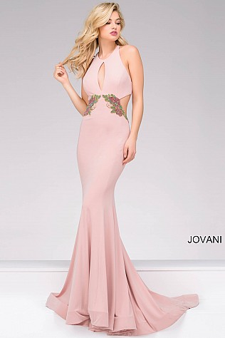 Pink Fitted Jersey Prom Dress JVN49374