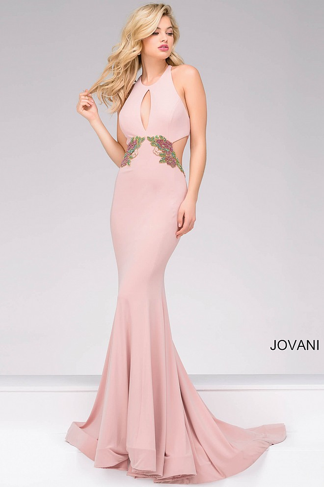 Pink long sleeveless fitted embellished waist dress with cut outs.