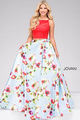 Red and Blue Two piece Prom Dress JVN49990