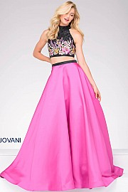 Fuchsia and Black Two-Piece Prom Ballgown  JVN59350