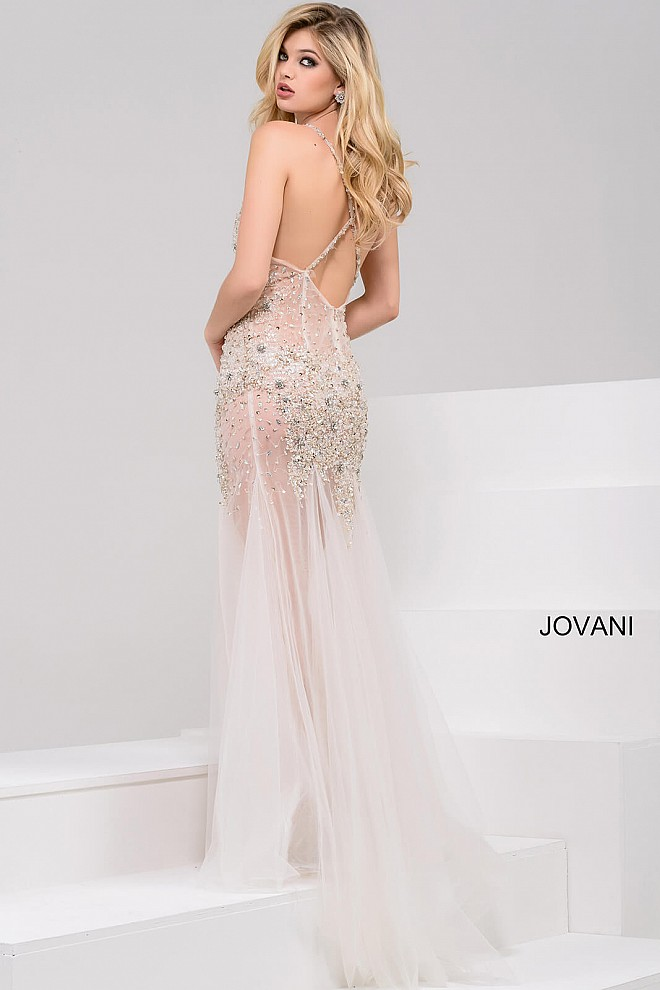 5c4d602104b ivory long fitted sheer beaded dress with v neck and spaghetti straps.