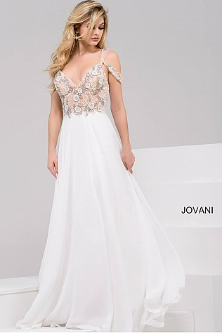 Off White Chiffon Embellished Off the Shoulder Bodice Dress JVN50408