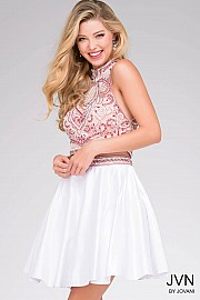 White Multi Open Back Embellished Fit and Flare Homecoming Dress JVN41573