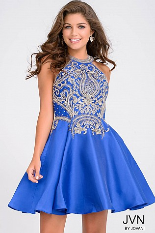 Royal Halter Fit and Flare Beaded Homecoming Dress JVN41690