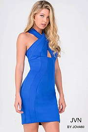 Royal Blue Open Back Fitted Jersey Dress JVN41957