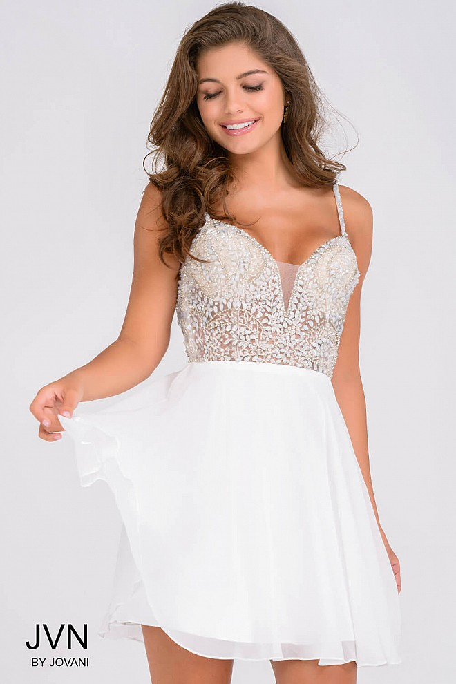 White Embellished See Through Bodice Homecoming Dress JVN47310