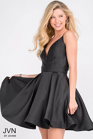Black Simple Open Back Homecoming Dress JVN47315