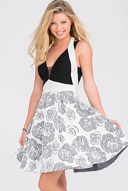 Black and White Fit and Flare Halter Neck Homecoming Dress JVN47904