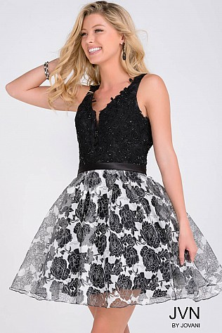 Black Fit and Flare Beaded Bodice Homecoming Dress JVN47920