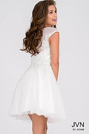 Ivory Embellished Top Cap Sleeves Dress JVN42633