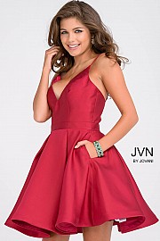 Red Fit and Flare Simple Pleated Skirt Homecoming Dress JVN47315