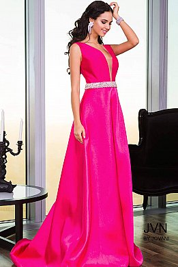 Pink Satin A-Line Dress with Embellished belt JVN22632