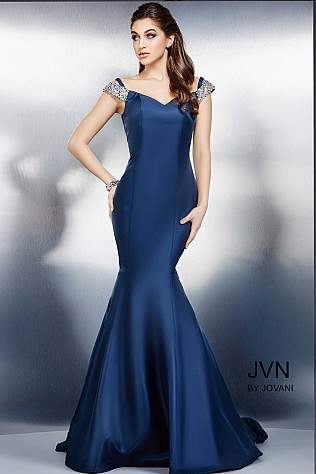 Navy Cap Sleeve Mermaid Dress JVN23455